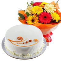 Mouth-Watering Vanilla Cake with a Doz of Mixed Flowers Bouquet to Miraz