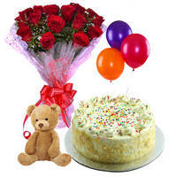 Elegant Hamper of Red Roses Bouquet with Vanilla Cake, Balloons & Small Teddy to Devlali