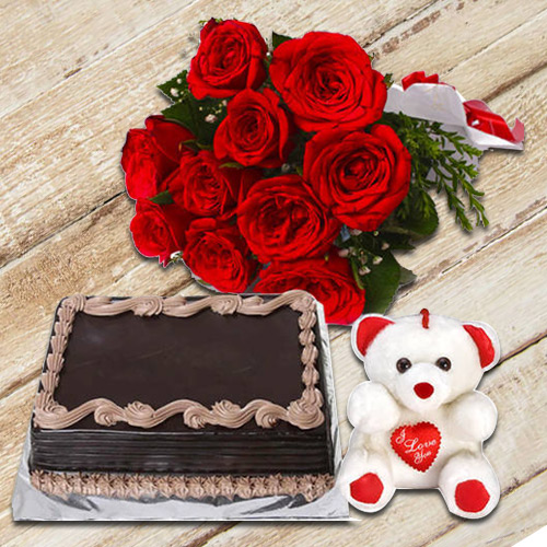 Gorgeous Roses Bunch with Chocolate Cake   Teddy to Anand