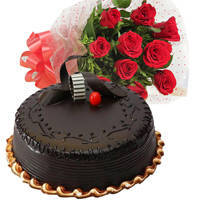Glorious Chocolate Truffle Cake & Red Color Roses Bunch to Bulandsher