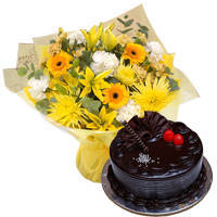 Appetizing Chocolaty Truffle Cake with Mixed Flowers Bunch to Rajkot