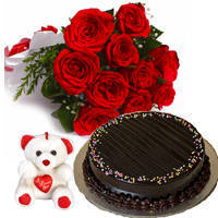 Delectable Hamper of Choco Truffle Cake with Small Teddy & Red Color Roses Bunch to Barauipur