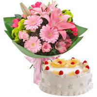 Glorious Mixed Flower Bunch with Pineapple Cake to Kannur
