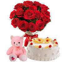 Tempting Combo of Pineapple Cake with Red Roses Bunch & small Teddy to Bhubaneswar