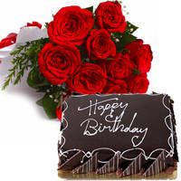 Majestic Red Color Roses Bouquet with Eggless Chocolate Cake to Amlapuram