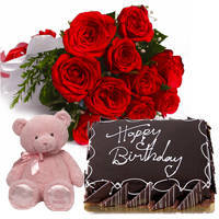 Exquisite Red Color Roses Bunch with Small Teddy & Eggless Chocos Cake to Bulandsher