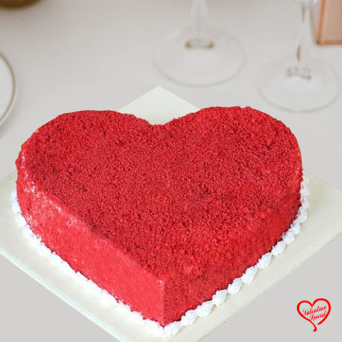 Lip-Smacking Heart Shape Red Velvet Cake to Bardez