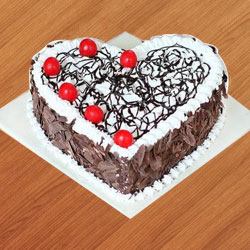 Exotic Black Forest Cake in Heart Shape to Amlapuram