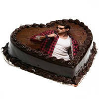 Yummy Heart-Shape Chocolate Photo Cake to Chirala