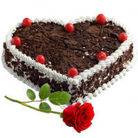 Long-Stem Red Rose with Heart-Shape Black Forest Cake to Bhubaneswar