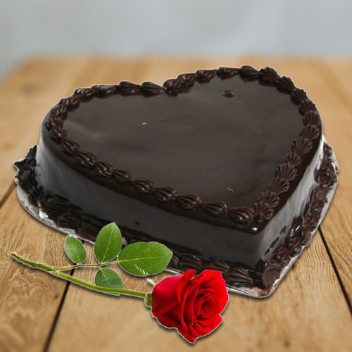 Yummy Heart-Shaped Chocolate Cake N Single Rose to Anand