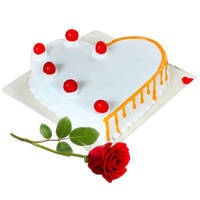 Vanilla Fun Heart-Shape Cake with Single Rose to Ajmer