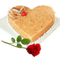 Joyful Combo of Heart Shape Butter Scotch Cake N Red Rose to Anakapalli