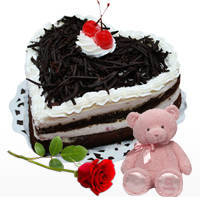 Decorated Heart Shape Black Forest Cake with Teddy N Red Rose to Chengalpattu