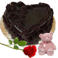 Red Rose Romantic Combo of Teddy N Heart Shape Chocolate Cake to Chengalpattu