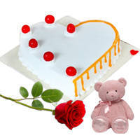 Heart-Shape Yummy Vanilla Cake with Red Rose N Teddy to Bolpur