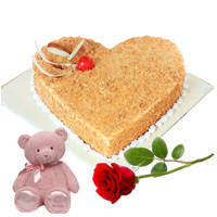 Dazzling Combo of Heart Shape Butte Scotch Cake with Teddy N Single Rose to Jaipur