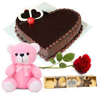 Joyous Celebration Heart Shape Chocolate Cake with Red Rose, Teddy N Ferrero Rocher to Chirala