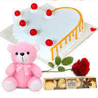 Fresh Baked Vanilla Love Cake with Red Rose, Teddy N Ferrero Rocher to Chengalpattu