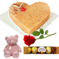 Highly-Enjoyable Heart Shape Butter Scotch Cake with Teddy, Red Rose N Ferrero Rocher to Anantapur