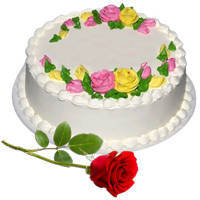 Classic Vanilla Cake with Fresh Red Rose to Bulandsher