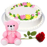 Sweet Single Red Rose with Vanilla Cake N Teddy to Pune