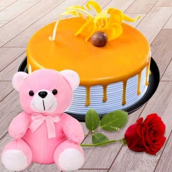 Eggless Butter Scotch Cake with Teddy N Pink Rose to Alwar