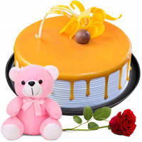 Perfect Love Red Rose with Butter Scotch Cake N Teddy to Amlapuram