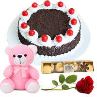 Tempting Ferrero Rocher with Black Forest, Teddy N Single Rose to Devlali