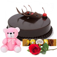 Delectable Chocolate Cake with Teddy, Ferrero Rocher N Rose to Bhubaneswar