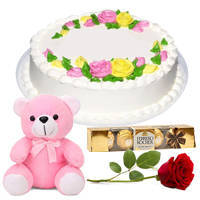 Adorable Small Teddy with Vanilla Cake, Single Rose N Ferrero Rocher to Kannur