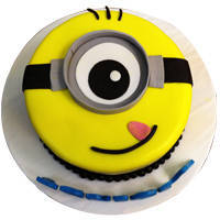 Sumptuous 1 Eye Minions Fondent Cake for Kids to Jaipur