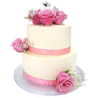 2 Tier Wedding Cake with Beautiful Flowers to Ajmer