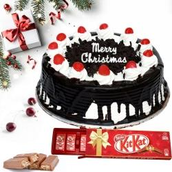 Sumptuous XMas Combo of Black Forest Cake N Kitkat Chocolate to Allahabad