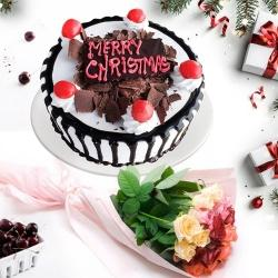 Beautiful Combo of Black Forest Xmas Cake N Rose Bouquet to Aleppy