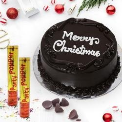 Finest Holiday Special Chocolate Cake with Party Poppers to Allahabad