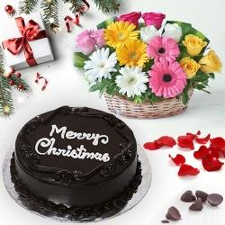 Heavenly Chocolate Cake with Seasonal Flower Basket to Allahabad