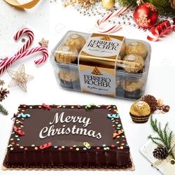 Delicate Merry_Xmas Chocolate Cake with Ferrero Rocher to Jamshedpur