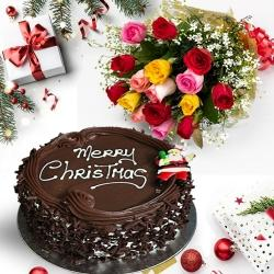 Sweet X Mas Chocolate Cake with Assorted Roses Bouquet to Jamshedpur