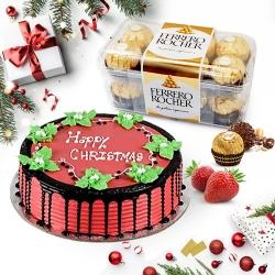 Sumptuous Merry_Xmas Strawberry Cake with Chocolates to Jamshedpur