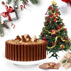 Delicious Kitkat Cake with Christmas Decor Tree to Aleppy