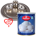 1 Kg. Haldiram Rasgulla with Silver Plated Puja Thali to Agra