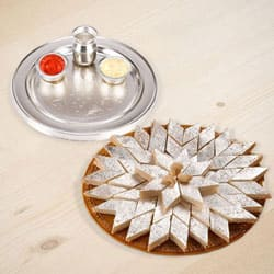 Silver Plated Thali with Haldiram Kaju Katli to Bangalore