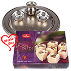 Silver Plated Puja Thali with Haldiram Soan Papdi to Agra