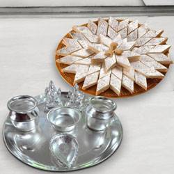 Silver plated  Puja Thali with Silver Plated Lakshmi Ganesha with Haldiram�s Kaju Katli to Kolkata