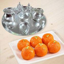 Silver plated  Puja Thali with Silver Plated Lakshmi Ganesha with Haldiram�s  Pure Ghee Ladoo to Belgaum