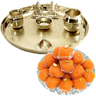Silver plated Puja Thali with Silver Plated Lakshmi Ganesha with Haldiram�s Pure Ghee Ladoo to Baga
