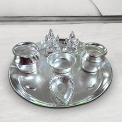 Silver plated Puja Thali with Silver Plated Lakshmi Ganesha to Gurgaon