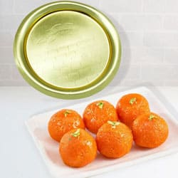 1/2 Kg (Gross Weight) Pure Ghee Laddu from Haldiram with Golden Plated Thali to Batala