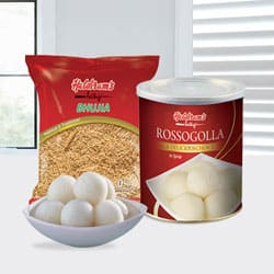Haldiram Rasgulla with Bhujia from Haldiram to Adipur